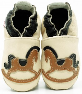 Soft Sole Baby Shoes ROCKING HORSE ON CREAM
