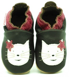 Soft Sole Baby Shoes CAT ON CHOCO
