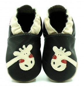 Soft Sole Baby Shoes GIRAFFE ON CHOCO