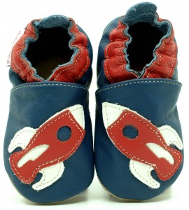 Soft Sole Baby Shoes RED ROCKET ON NAVY BLUE