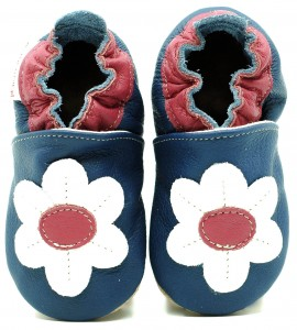 Soft Sole Baby Shoes DAISY ON NAVY BLUE