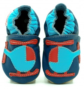 Soft Sole Baby Shoes HELICOPTER ON NAVY BLUE