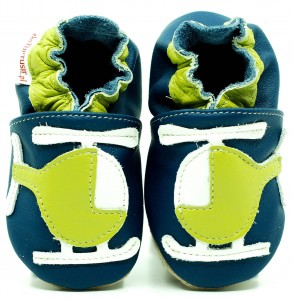 Soft Sole Baby Shoes GREEN HELICOPTER ON NAVY BLUE