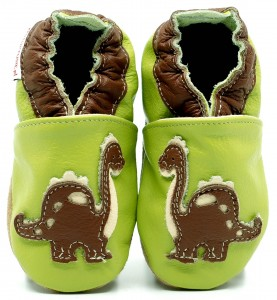 Soft Sole Baby Shoes DINO ON GREEN