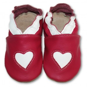 Soft Sole Baby Shoes HEART ON PINK