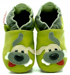 Soft Sole Baby Shoes DOG ON GREEN