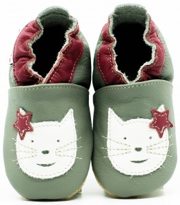 Soft Sole Baby Shoes CAT ON GREY