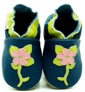 Soft Sole Baby Shoes FLOWER ON NAVY BLUE