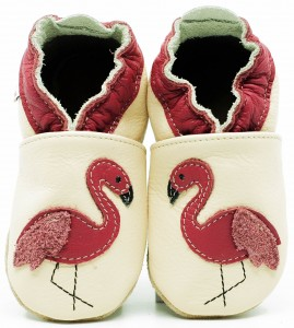 Soft Sole Baby Shoes FLAMINGO ON CREAM