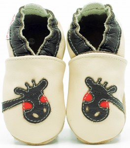 Soft Sole Baby Shoes GIRAFFE ON CREAM