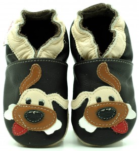 Soft Sole Baby Shoes DOG ON CHOCO