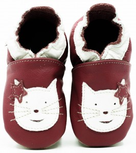Soft Sole Baby Shoes CAT ON PINK