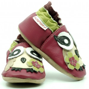 Soft Sole Baby Shoes PINK OWL