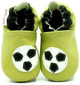 Soft Sole Baby Shoes FOOTBALL BALL ON GREEN