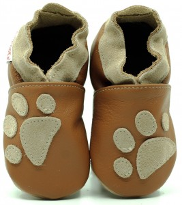 Soft Sole Baby Shoes PAWS ON LIGHT BROWN