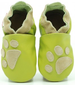Soft Sole Baby Shoes PAWS ON GREEN