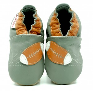 Soft Sole Baby Shoes RUGBY BALL ON GREY