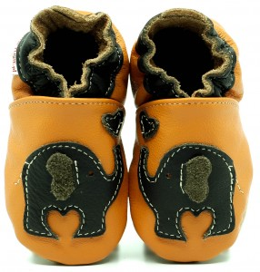 Soft Sole Baby Shoes CHOCOLATE ELEPHANT ON ORANGE