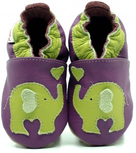 Soft Sole Baby Shoes GREEN ELEPHANT ON VIOLET