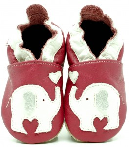 Soft Sole Baby Shoes WHITE ELEPHANT ON PINK