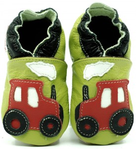 Soft Sole Baby Shoes RED TRACTOR ON GREEN