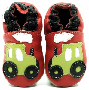 Soft Sole Baby Shoes GREEN TRACTOR ON RED