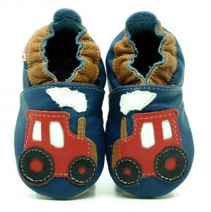 Soft Sole Baby Shoes RED TRACTOR ON NAVY BLUE