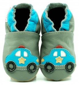 Soft Sole Baby Shoes POLICE ON GREY