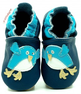 Soft Sole Baby Shoes BIRD ON NAVY BLUE