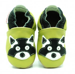 Soft Sole Baby Shoes RACCOON ON GREEN