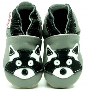Soft Sole Baby Shoes RACCOON ON GREY