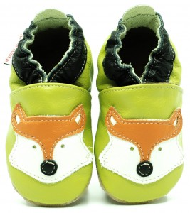 Soft Sole Baby Shoes FOX ON GREEN