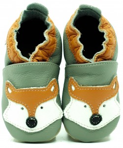 Soft Sole Baby Shoes FOX ON GREY