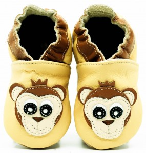 Soft Sole Baby Shoes MONKEY ON YELLOW