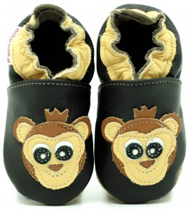 Soft Sole Baby Shoes MONKEY ON CHOCO