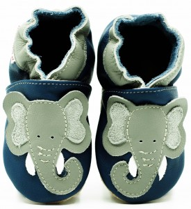 Soft Sole Baby Shoes DUMBO ON NAVY BLUE
