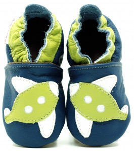 Soft Sole Baby Shoes GREEN AIRPLANE ON NAVY BLUE