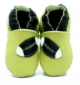 Soft Sole Baby Shoes RUGBY BALL ON GREEN