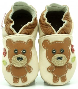 Soft Sole Baby Shoes BEAR WITH FLOWER