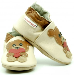 Soft Sole Baby Shoes BEAR WITH HEART