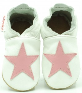 Soft Sole Baby Shoes PINK STAR ON WHITE