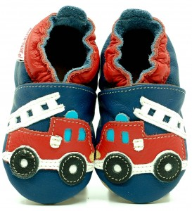 Soft Sole Baby Shoes FIRE TRUCK ON NAVY BLUE