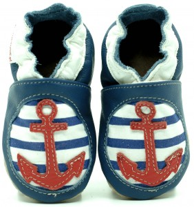Soft Sole Baby Shoes NAVY BLUE ANCHOR WITH COTTON INSERT