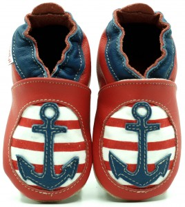 Soft Sole Baby Shoes RED ANCHOR WITH COTTON INSERT
