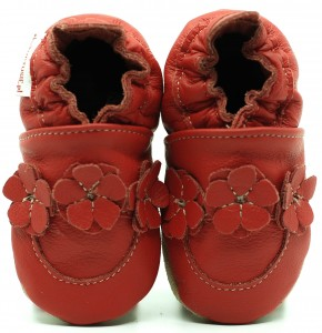 Soft Sole Baby Shoes RED FLOWER