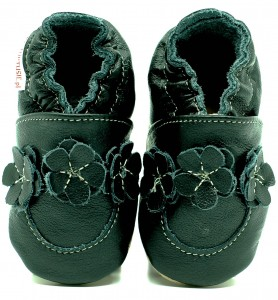 Soft Sole Baby Shoes BLACK FLOWER