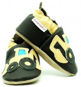 Soft Sole Baby Shoes DIGGER ON CHOCO