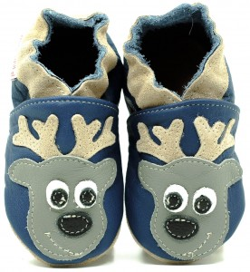 Soft Sole Baby Shoes DEER ON NAVY BLUE