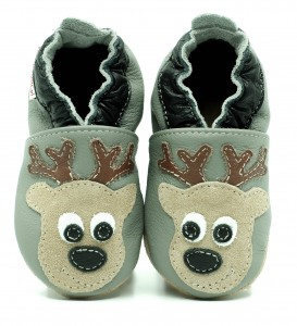 Soft Sole Baby Shoes DEER ON GREY