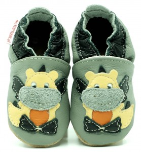 Soft Sole Baby Shoes DRAGON ON GREY